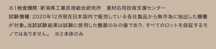 ※1検査機関:新潟県工業技術総合研究所 素材応用技術支援センター